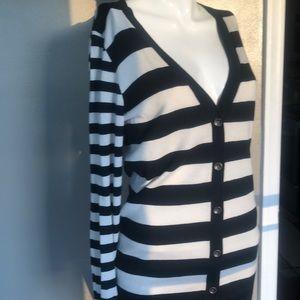 Sharp cream and black striped deep v cardigan